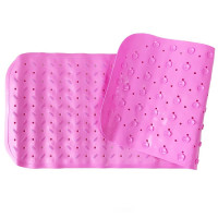 Детский противоскользящий коврик для ванной однотонный 35*95 (Розовый)