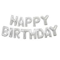 """Набор фольгированных шаров """"Happy Birthday"""" серебро"""