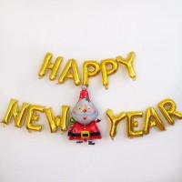 """Набор фольгированных шаров """"Happy New Year"""" золотой"""